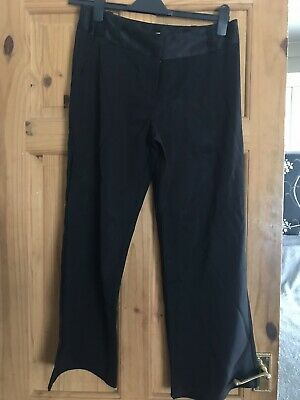 Ladies Girls Smart Black Boot Cut Trousers Sz 12 Great Cond Satin Waistband