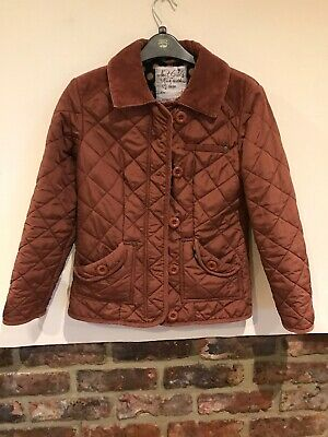 Next Girls Lovely Brown Quilted Coat  Jacket Age 11-12 Yrs Fleece Lined VGC