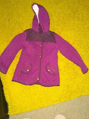 Girls Burgundy glitter top hooded Winter Coat, Age 9-10 Years from George.