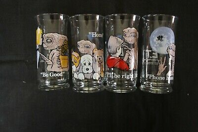 Complete Set Of 4 Vtg 1982 E.T. Extra Terrestrial Glasses Pizza Hut Limited
