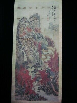 Very Large Chinese Antique Scroll Hand Painting Beautiful Landscape Marks