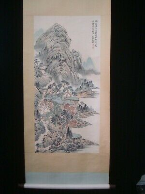 "Antique Large Chinese Scroll Hand Painting Landscape ""JinCheng"" Marks"