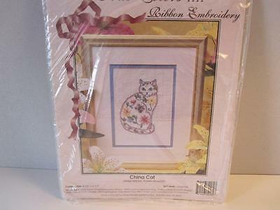 Set 2 Ribbon Embroidery Kits China Cat and Butterflies New Beginner Sealed