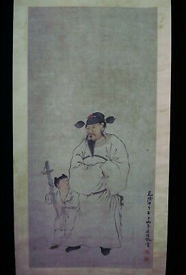 """Rare Large Antique Chinese Scroll Hand Painting Figures """"LuoPin"""" Marks"""