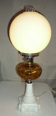 Antique Fenton Amber Oil Lamp With White Globe Shade  Milk Glass Base