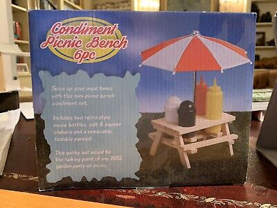 Condiment Picnic Bench 6pc In Excellent Condition