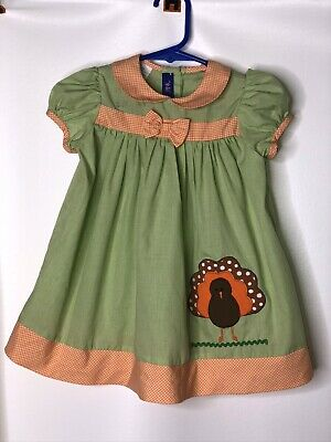 NWT Thanksgiving Turkey Applique on a Yellow Gingham Longall  The Smocked Shop!