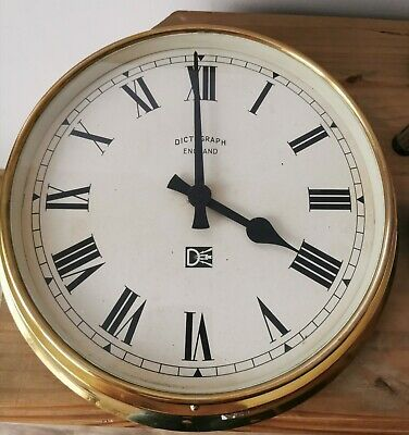 A Mid Century Industrial Brass Factory Wall Clock by Dictograph