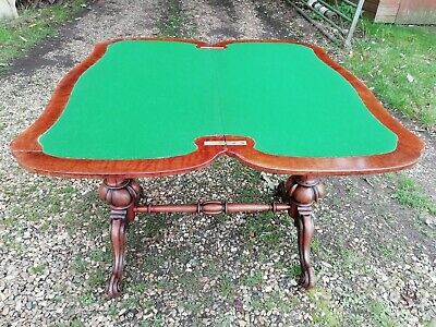Antique Victorian Double Pedestal Burr Walnut Folding Card Table Recovered