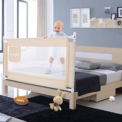 59 Inches Bed Rail for Toddlers Fold Down Safety Baby Bed Guard Swing Down for &