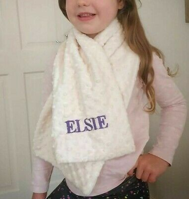 Children's/kids personalised plush dimple soft cosy scarf for girls and boys