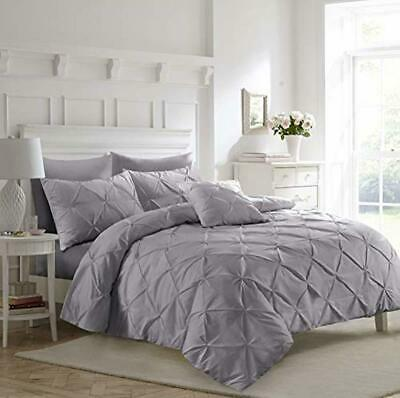 Fixtex Silver Pinch Pleat Pintuck Duvet Cover Set with Pillow Cases Includes Com