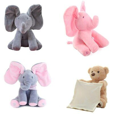 Peek-a-Boo Animated Talking and Singing Plush Stuffed Elephant Doll Toy For Baby
