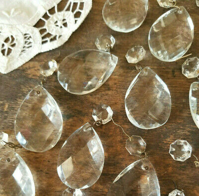 8 lg Heavy + 8 tiny toppers * Diamond pattern  Vintage Chandelier Crystals