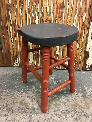 Antique Vintage Rustic Farmhouse Turned Wooden Stool. Painted Finish Shaped Seat