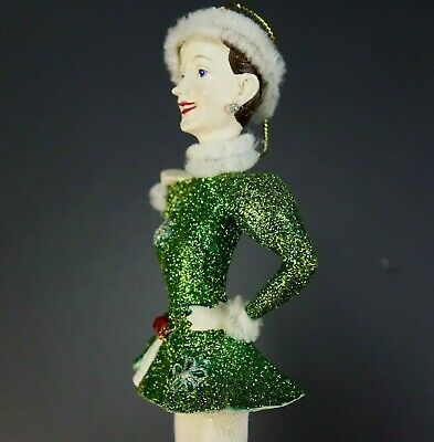 Vintage Kurt Adler Rockettes Irish Green Dancing Girl Christmas Ornament