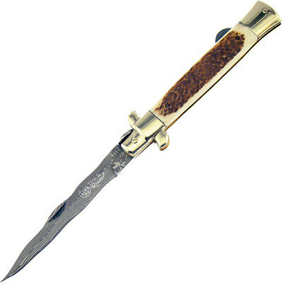 Hen & Rooster Knives Stiletto Kris Damascus Stag HR-5081DS/D