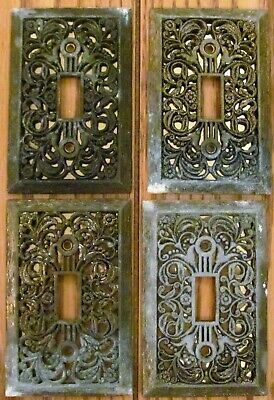 4 Vintage Electrical Single Switch Brass Wall Plates Filigree Gold Foil Backing