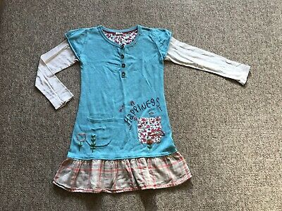 Lovely Blue Embroidered NEXT GIRLS Tunic Dress SIZE 7-8 Yrs