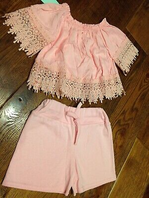 Girls Pink Co Ord Two Piece Set Age 8 Years Brand New