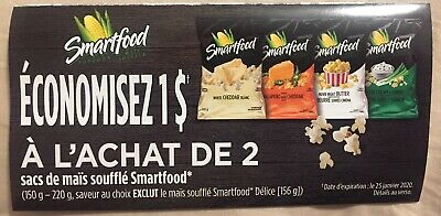 Lot of 10 x 1.00$ Smartfood Products Coupons Canada