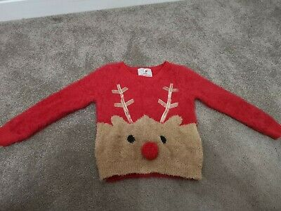 Cute Girls Red Reindeer Fluffy Christmas Jumper By George Size - 2 to 3 Years