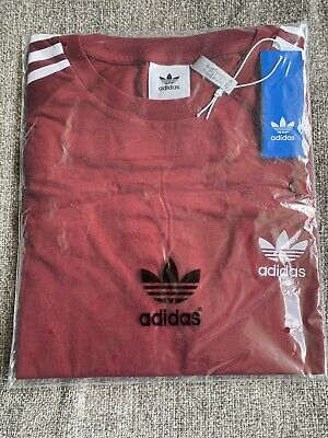 Adidas Embroidered California T Shirt Red/Burgundy Large Brand New & Sealed