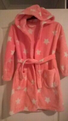 Girls age 7-8 yrs George pink soft fleecy dressing gown with stars and hood