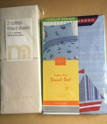 new MOTHERCARE 2 pack cot bed fitted sheets & Kirkton boys toddler bed duver set