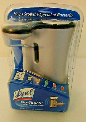 New LYSOL No Touch Automatic Hand Soap Dispenser Silver Stainless Anti-Bacterial