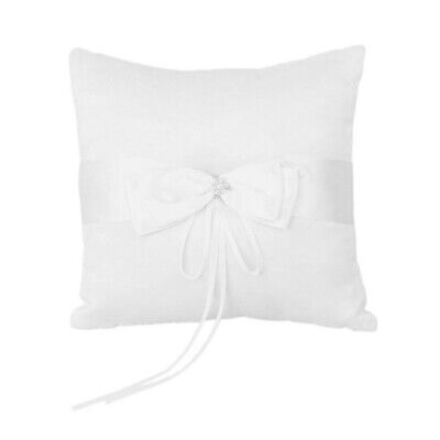 Wedding Ring Pillow Cushion Bearer with Faux Pearl Satin Ivory Ribbon