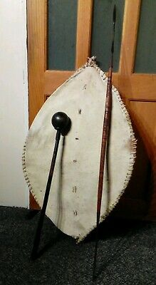 Antique African Club And Spear With Zulu Shield. Knobkerrie.