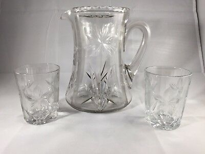 ABP or Art Deco Cut Glass Pitcher & Glasses Signed Hawkes