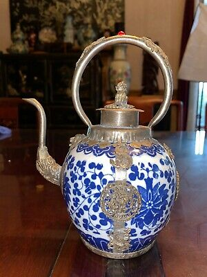 18th C. Antique Chinese Porcelain Blue & White with silver Teapot Qing Dynasty