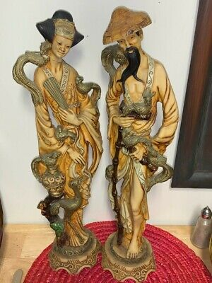 Hand Carved Wooden Statues Asian Couple 16 Inches Tall Art Figures