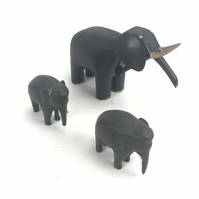 Vintage Elephant Figurines Wooden Set Of 2 Plus One Larger One Retro Old