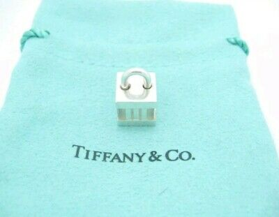 Tiffany & Co. Sterling Silver Atlas Collection Cube Lock Charm Pendant