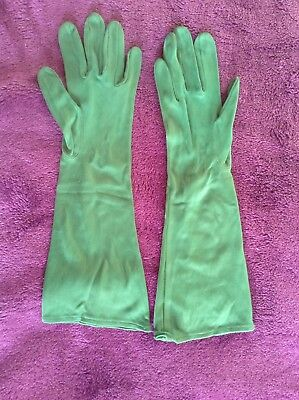 "Vintage Lady's Evening Gloves, Green, Size 7, 14"" Length, Dents, Good Condition"