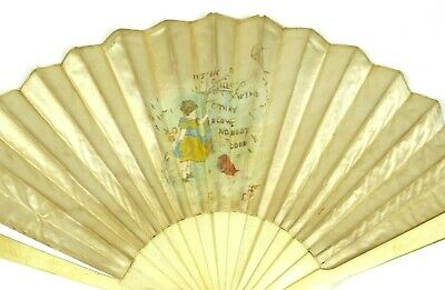 Antique Hand Carved Silk Fan Hand Painted Scene with Poem Saying LOVELY