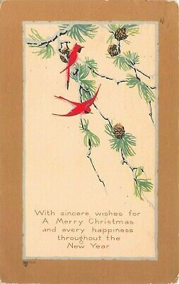 C2028 Red Birds Pine Tree Boughs Pine Cones Xmas New Year Wishes Old PC Volland