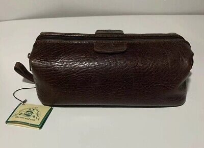 DOPP ADMIRAL TOILETRIES TRAVEL BAG MEN'S Textured Brown Leather