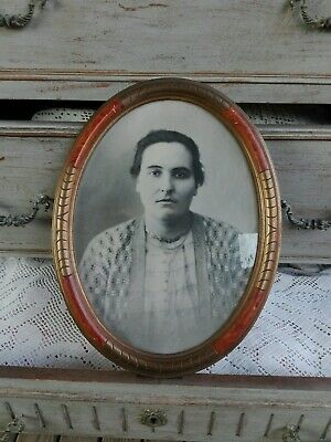 Antique Photo Frame Oval with Portrait Woman Wooden Carved Stuccoed