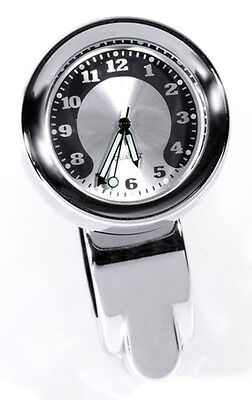 Horloge pour Guidon Métal Blanchi Chrome Big Harley Dyna Grand Cadran 30 MM