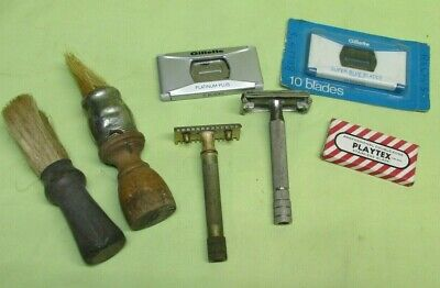 Vintage Gillette Razors, Blades and Old Shaving Brush Lot