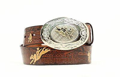 Nocona Brown Leather Boys Bullrider Belt