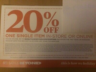 Bed Bath And Beyond Coupon 20% OFF! IN-STORE/ONLINE  EXP 1/6/20