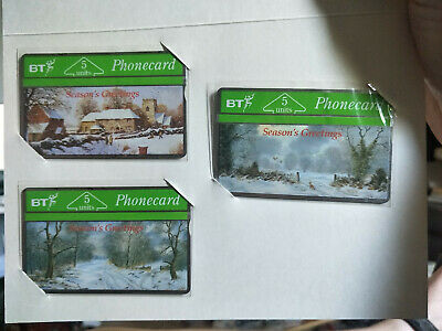 Mint BT 5 Unit Season's Greetings Phonecard Set in Card No Printing on Back