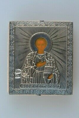 Antique Russian Orthodox Hand Painted Silver 84 Icon St. Panteleimon 19th Cent.