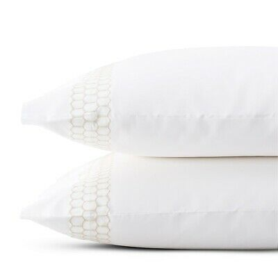 Matouk Liana STANDARD PILLOWCASES WHITE WHITE 520 TC Percale COTTON BEDDING NEW