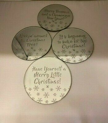 4 Designs Christmas gold glitter and Mirror glass festive slogan candle plates